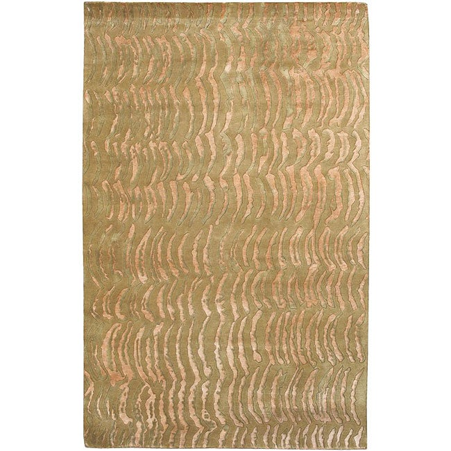 Hand-knotted Resonate Beige Abstract Design Wool Area Rug (9' x 13') - 9' x 13'