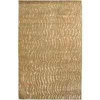 Hand-knotted Resonate Beige Abstract Design Wool Area Rug - 9' x 13'