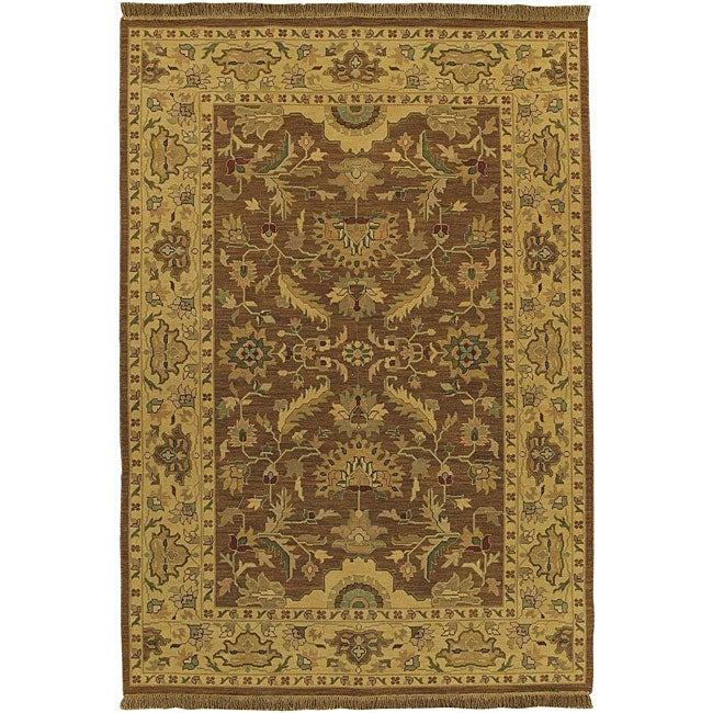 Hand-knotted Epoch Brown Wool Rug (6' x 9')