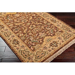 Hand-knotted Epoch Brown Wool Rug (6' x 9') - Thumbnail 2
