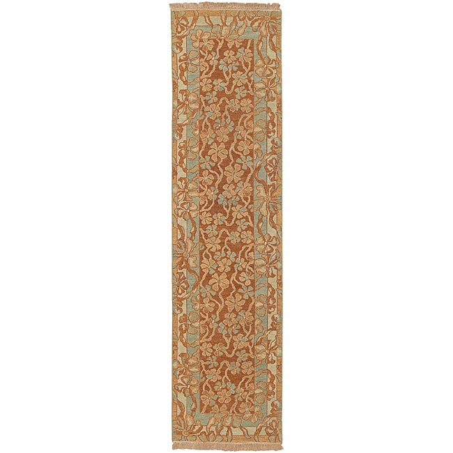 Hand-knotted Valley Cognac Wool Rug (2'6 x 10')
