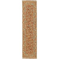 "Hand-knotted Valley Cognac Wool Area Rug - 2'6"" x 10'"