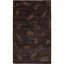Hand-knotted Seaboard Brown Wool Rug (2' x 3')