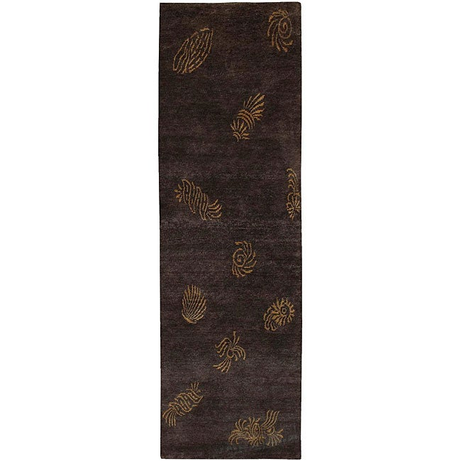 Hand-knotted Seaboard Brown Wool Rug (2'6 x 10')
