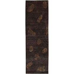 Hand-knotted Seaboard Brown Wool Area Rug (2'6 x 10') - Thumbnail 0