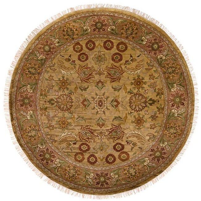 Hand-knotted Finial Beige Wool Rug (8' Round)
