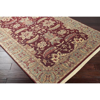 Hand-knotted Finial Dark Maroon Wool Rug (8' Square)