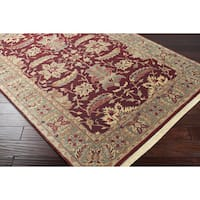 Hand-knotted Finial Dark Maroon Wool Area Rug (8' Square)