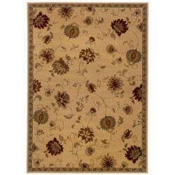 """Indoor Beige Floral Area Rug (5' x 7'6) - 5' x 7'6"""""""
