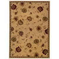 Indoor Beige Floral Area Rug - 5' x 7'6