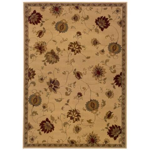 """Indoor Beige Floral Area Rug (8'2 x 10') - 8'2"""" x 10'"""