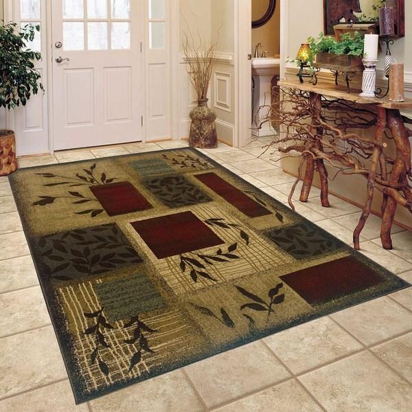 Indoor Green Abstract Area Rug (5' x 7'6)