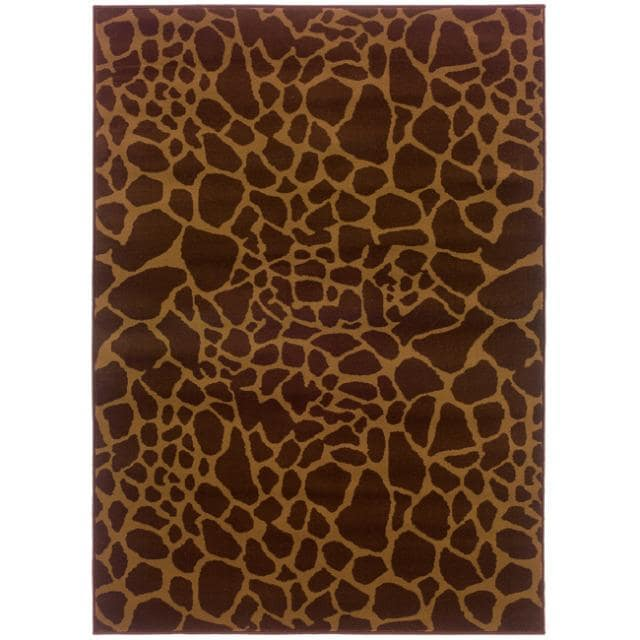 Indoor Brown Animal-print Rug (5' x 7'6)