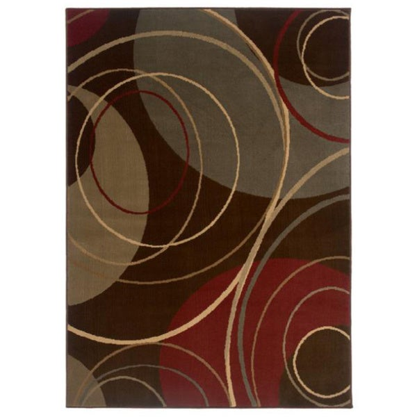Indoor Brown Abstract Area Rug (3'2 x 5'7)