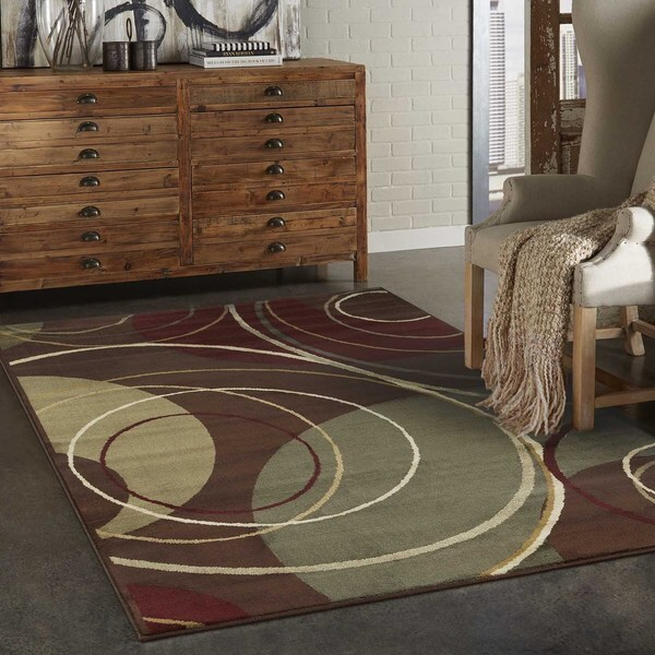 Indoor Brown Abstract Area Rug (3'2 x 5'7)