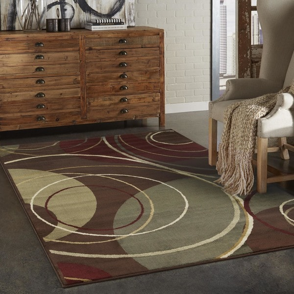 Enchanting Circles Brown/ Red Area Rug (5' x 7'6)