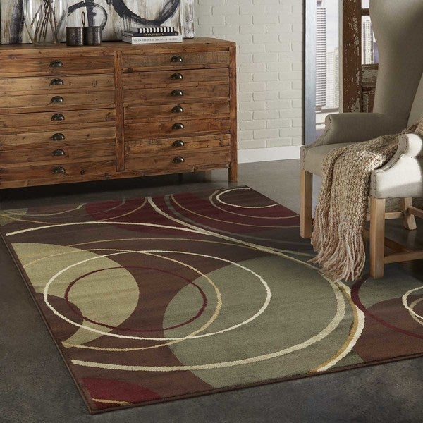 Indoor Brown Abstract Area Rug (8'2 x 10')