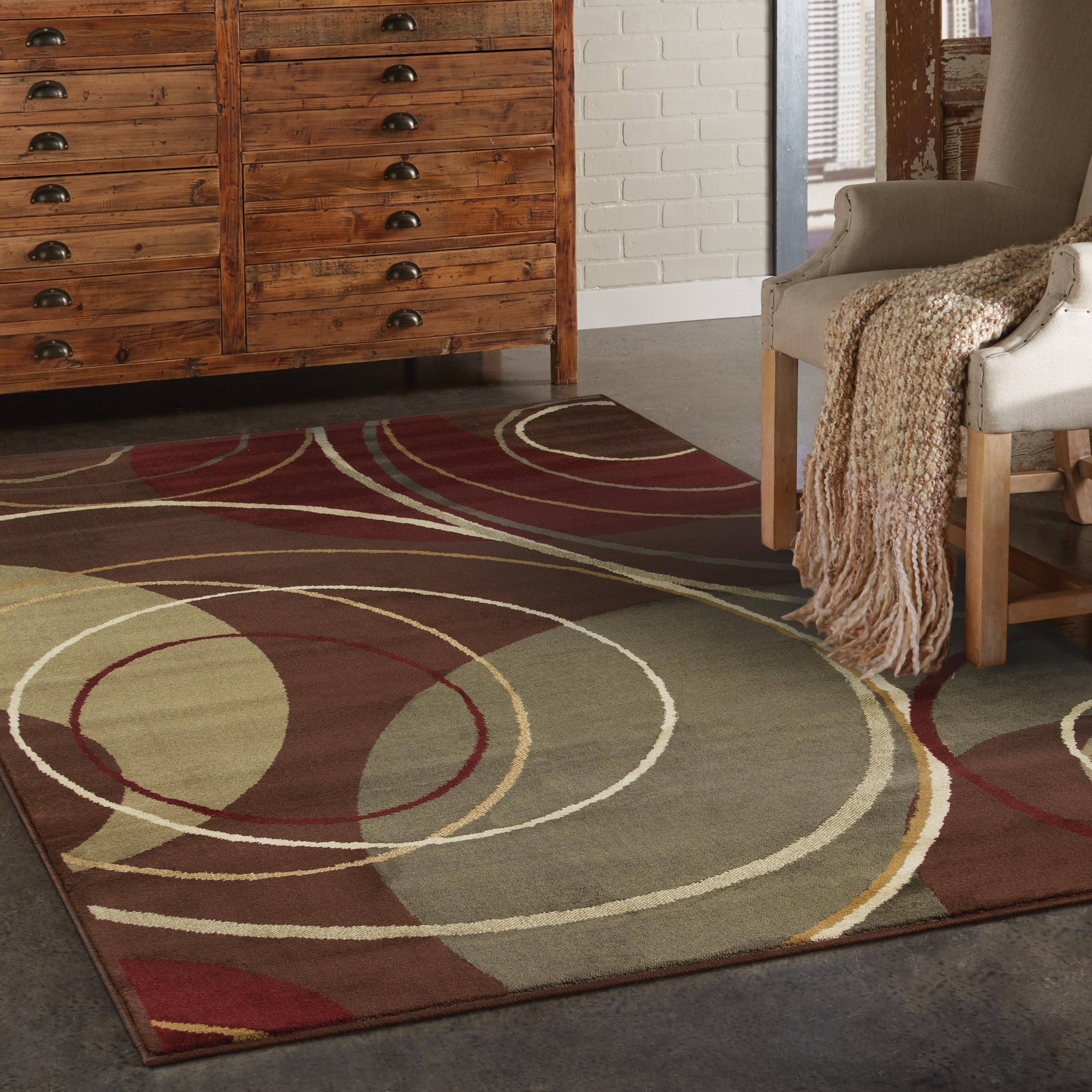 Enchanting Circles Brown/ Red Area Rug (8'2 x 10') - 8'2 x 10'