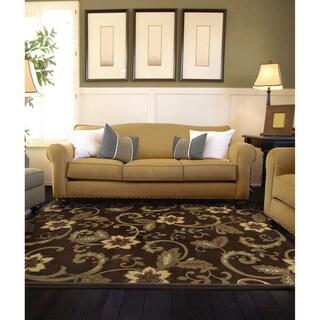Brown Floral Rug (5' x 7'6)