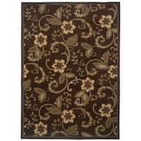 """Brown Floral Rug (8'2 x10') - 8'2"""" x 10'"""
