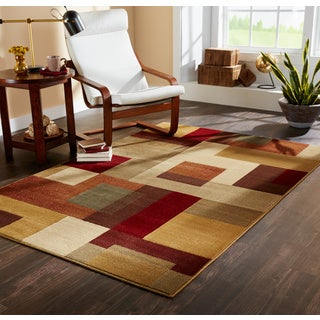 Clay Alder Home Percha Patchwork Block Brown and Deep Red Area Rug