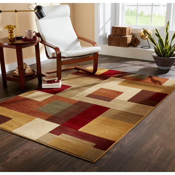 Patchwork Block Brown and Deep Red Area Rug (8'2 x 10')