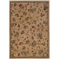 Casual Brown Floral Rug - 5' x 7'6""