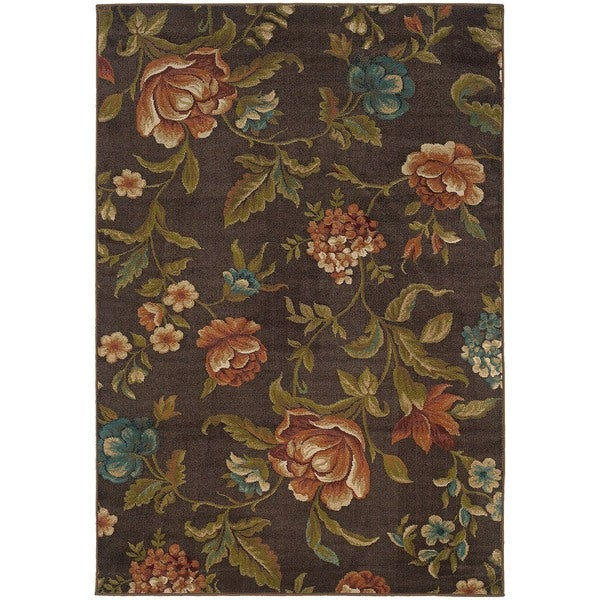 """Brown Floral Rug - 5' x 7'6"""""""