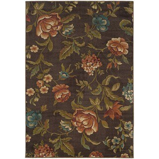 "Brown Floral Area Rug (7'10"" x 10') - 7'10"" x 10'"