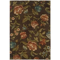 "Brown Floral Area Rug - 7'10"" x 10'"