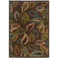 Brown Leaves Abstract Rug - 5' x 7'6""