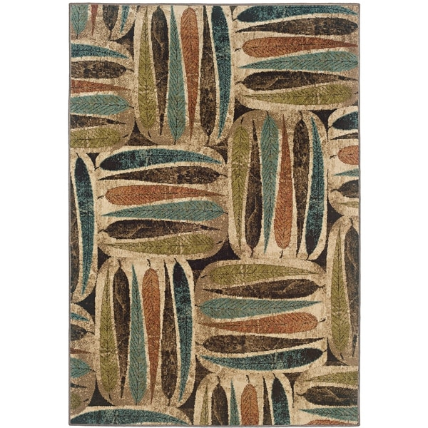 "Everleigh Stacked Leaves Beige/Multi Area Rug - 3'10"" x 5'5"""