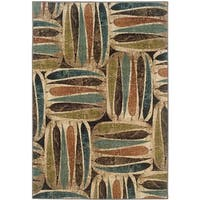Beige Abstract Rug (3'10 x 5'5)