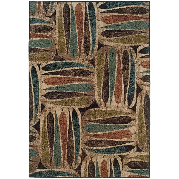Beige Leaf Abstract Rug - 5' x 7'6