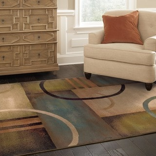 Indoor Beige Abstract Area Rug (3'10 x 5'5)