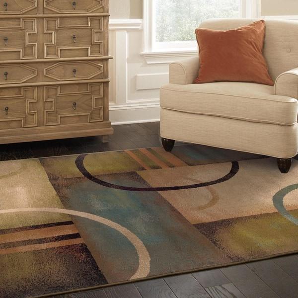 Indoor Beige Abstract Area Rug (3'10 x 5'5)