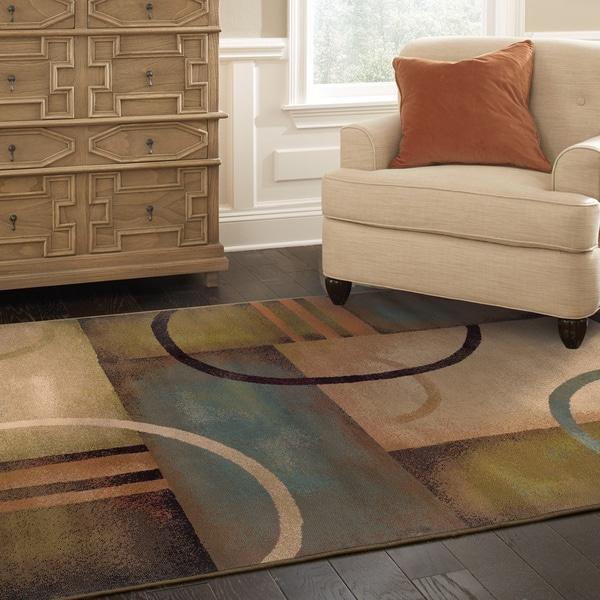 Indoor Beige Abstract Area Rug (5' x 7'6)