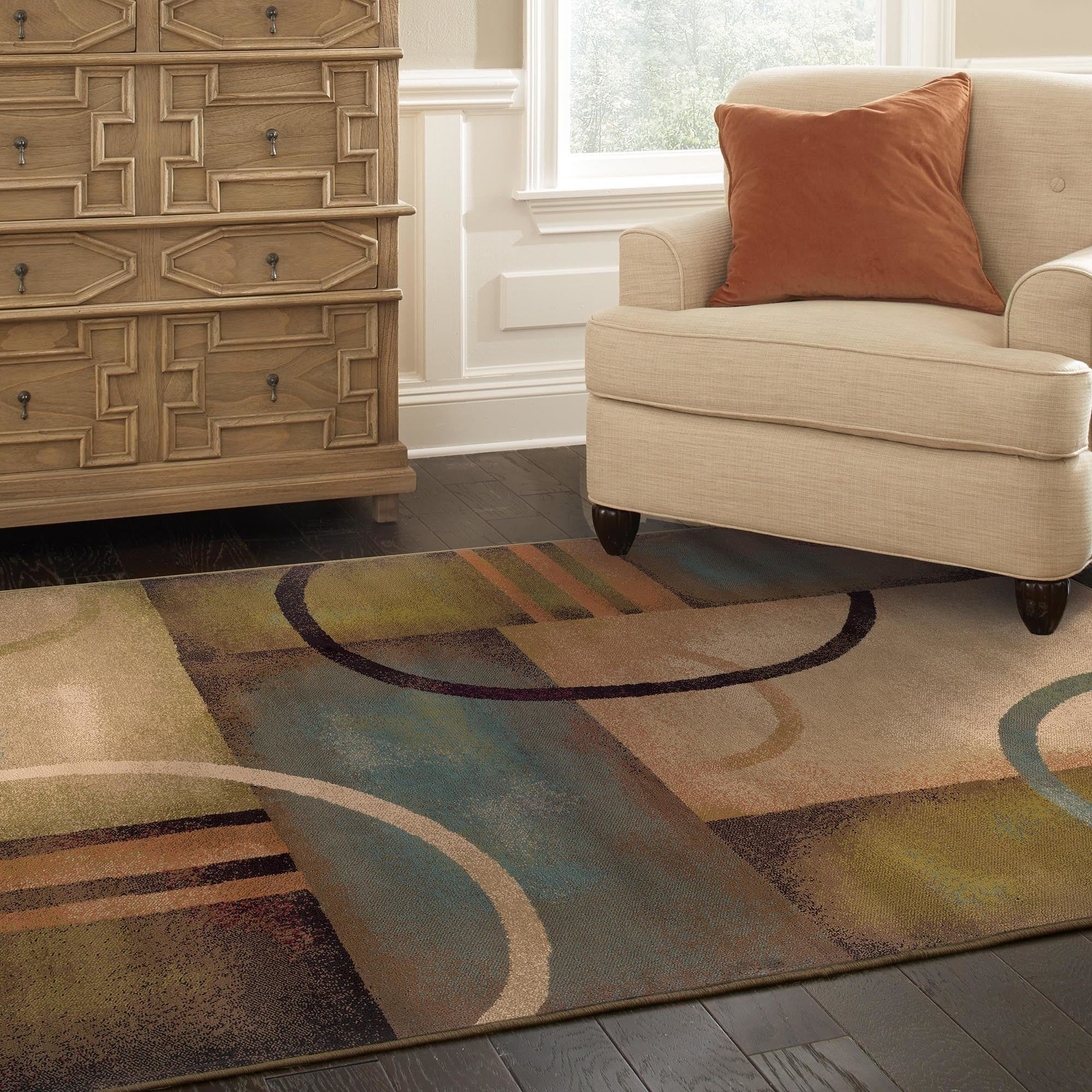 Indoor Beige Abstract Area Rug - 5' x 7'6""