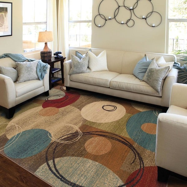 Beige Abstract Area Rug - 5' x 7'6""