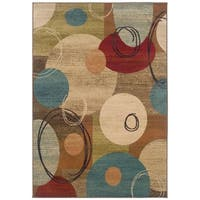 """Beige Abstract Area Rug - 5' x 7'6"""""""