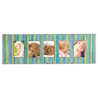 Handmade Recycled Boat Wood Beach-style 5-window Picture Frame (Thailand) (3 options available)