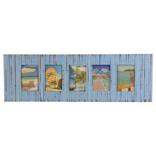 Recycled Boat Wood Beach-style 5-window Picture Frame (Thailand)