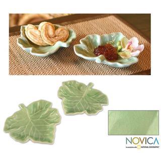 Handmade Set of 2 Celadon Ceramic 'Tam Lung Leaf' Plates (Thailand)