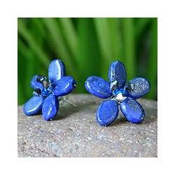 Handmade 'Blue Flower' Lapis Lazuli Button Earrings (Thailand)