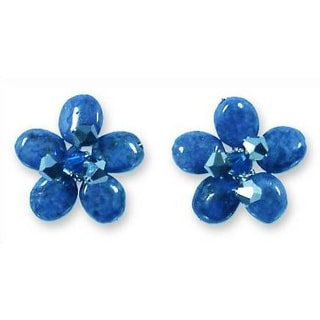 Handmade 'Blue Flower' Lapis Lazuli Button Earrings (Thailand)