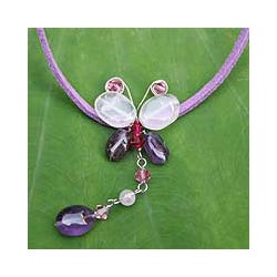 Handmade Leather 'Flight' Amethyst Quartz Necklace (Thailand)