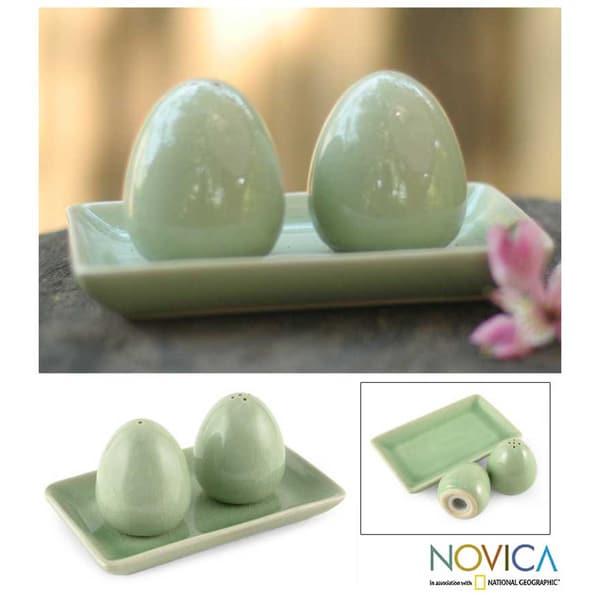 Celadon Ceramic 'Eggs' Salt and Pepper Shakers Set (Thailand)
