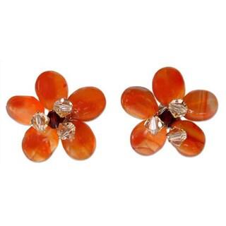 Handmade 'Honey Flower' Carnelian Button Earrings (Thailand)