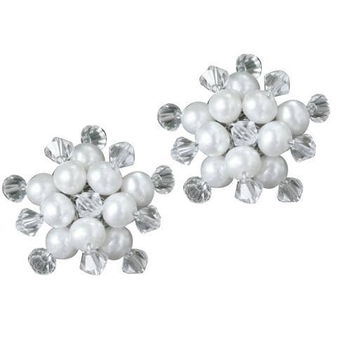 NOVICA Handmade 'Stars' Freshwater White Pearl Earrings (4 mm) (Thailand)