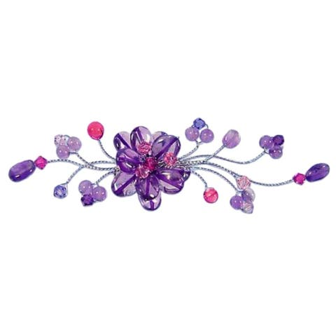 Handmade Stainless Steel 'Lilac Bouquet' Amethyst Brooch (Thailand)